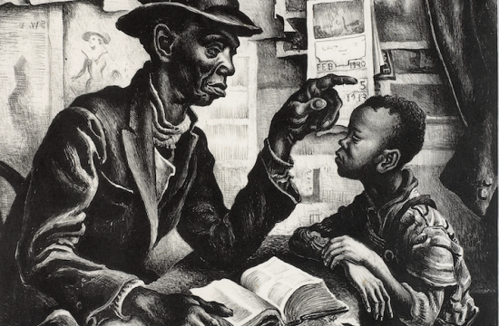artwork depicting a Black man and young Black boy in a home. A wall calendar for 1940 is in the background.