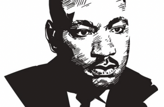 black-and-white portrait of Martin Luther King, Jr.